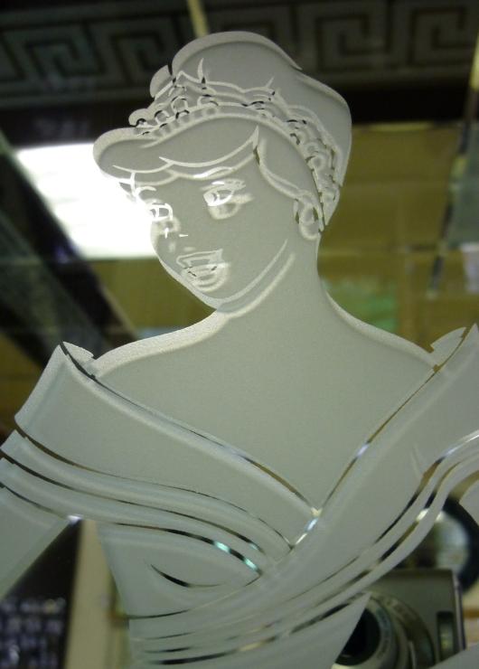 Пескоструйный рисунок на лицевой поверхности зеркала