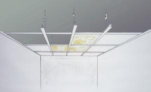 Подвесной потолок Армстронг - примерная схема крепления. Стандартные минераловолокнистые кассеты легко заменяются на сегменты витража Тиффани.